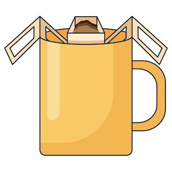 Illustrazione dell'icona piatta del metodo di preparazione del caffè