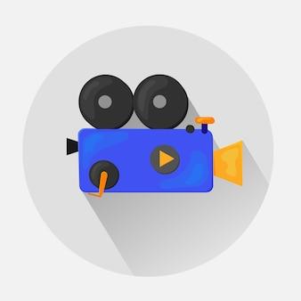 Icona piatta - illustrazione della videocamera