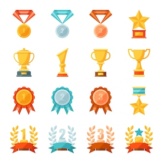 Icone piane di medaglie d'oro, bronzo e argento, premio e concetto di successo