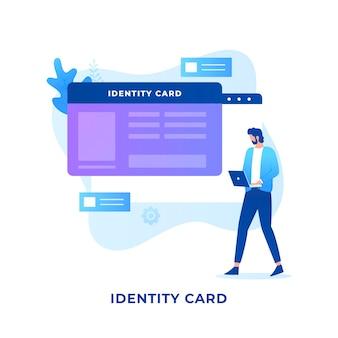 Concetto di carta d'identità piatta.