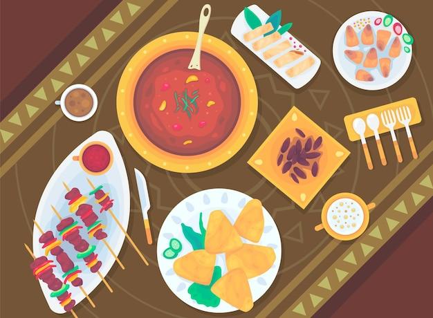 Illustrazione di pasto iftar piatto