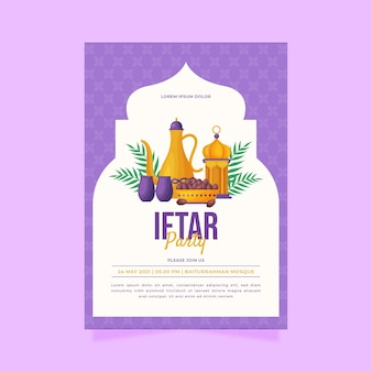 Modello di poster verticale iftar piatto