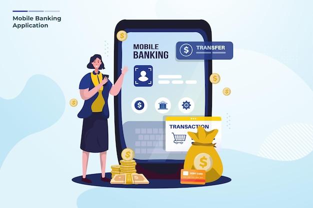 Illustrazione piatta sul concetto di mobile banking
