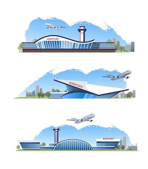 Illustrazione piatta dell'edificio dell'aeroporto all'aperto con aereo isolato su sfondo bianco