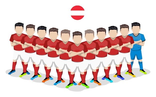 Illustrazione piana della squadra di calcio nazionale austriaca per la competizione europea