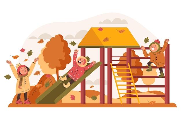 Illustrazione piatta di bambini autunnali che giocano fuori