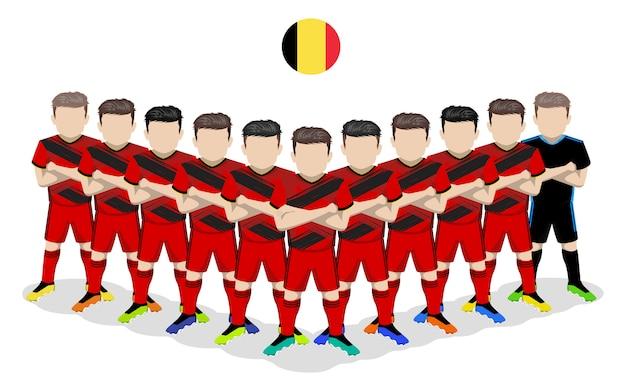 Illustrazione piana della squadra di calcio nazionale del belgio per la competizione europea