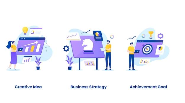 Illustrazione piatta del set di concetti di pianificazione aziendale