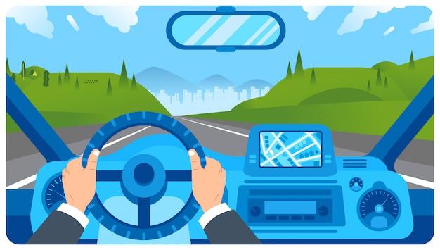 Illustrazione piana del cruscotto dell'automobile con la mano del conducente sul volante