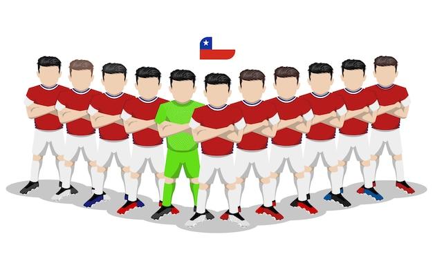Illustrazione piana della squadra di football americano nazionale del cile per la concorrenza del sudamerica