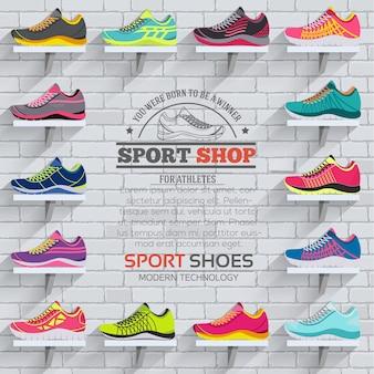 Insieme di raccolta illustrazione piatto di scarpe da ginnastica in esecuzione