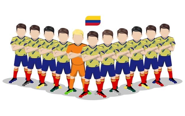 Illustrazione piana della squadra di calcio nazionale della colombia per la concorrenza del sudamerica