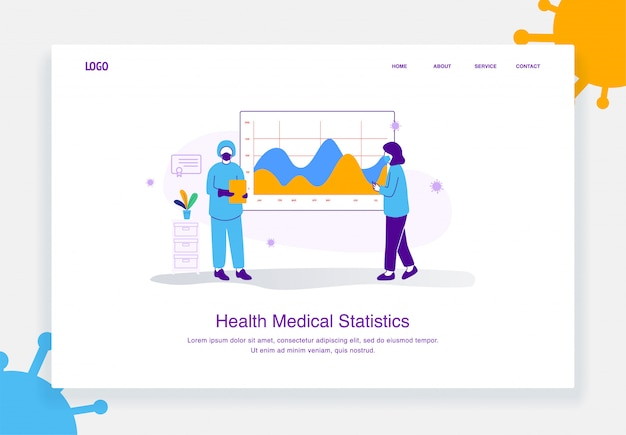 Illustrazione piatto concetto di equipe medica che mostra l'analisi dei dati sanitari, covid 19 diagramma statistica per modello di pagina di destinazione