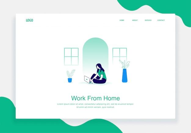 Concetto di illustrazione piatta delle donne lavorano da casa utilizzando un computer portatile per il modello della pagina di destinazione