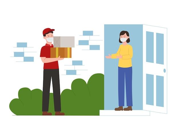 Corriere dell'illustrazione piana che consegna il pacchetto al consumatore