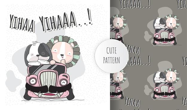 Animali svegli dell'illustrazione piana sull'automobile