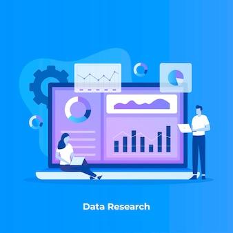 Illustrazione piana del concetto di ricerca dei dati.