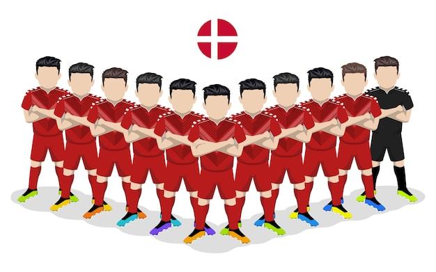 Illustrazione piana della squadra di calcio nazionale danese per la competizione europea