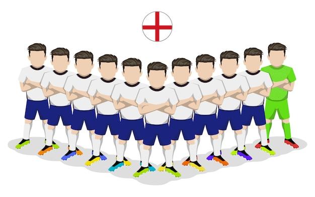 Illustrazione piana della nazionale di calcio inglese per la competizione europea