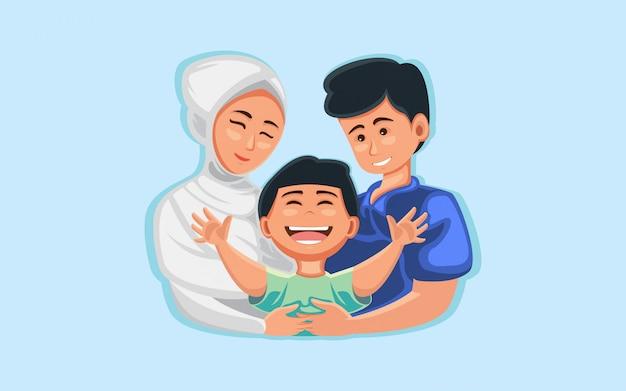 Illustrazione piatta abbraccio di famiglia, mamma, padre e figli