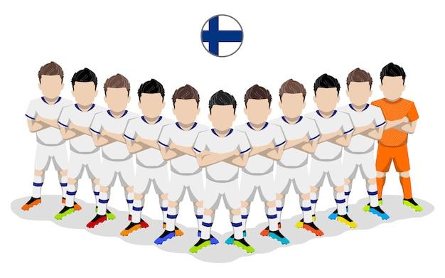 Illustrazione piana della squadra di calcio nazionale finlandese per la competizione europea