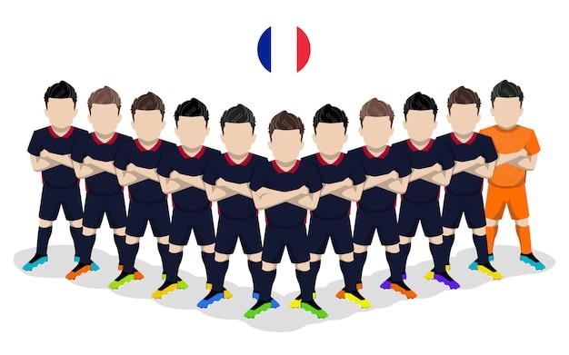 Illustrazione piana della squadra di calcio nazionale della francia per la competizione europea