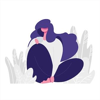 Illustrazione piana di una ragazza che tiene una tazza. tema relax e amore per se stessi.