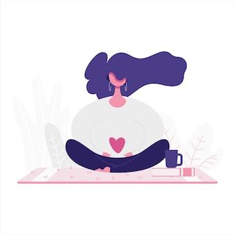 Illustrazione piana di una ragazza che medita. tema relax e amore per se stessi.