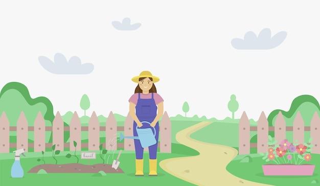 Illustrazione piatta di un paesaggio da giardino verde con una donna che innaffia i letti del giardino