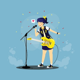 Illustrazione piana del carattere del chitarrista