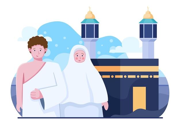 Illustrazione piatta di hajj e umrah viaggi religione islamica tradizione
