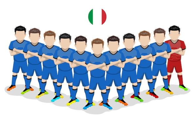 Illustrazione piatta della nazionale italiana di calcio per la competizione europea