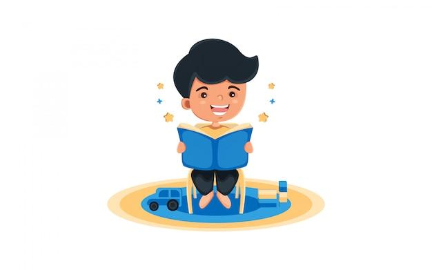 Bambino piano dell'illustrazione che legge un libro
