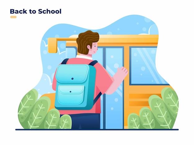 Illustrazione piatta di bambini che tornano a scuola con il trasporto dello scuolabus