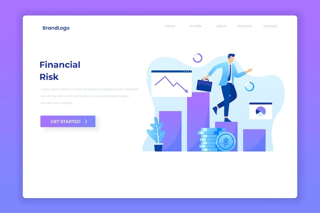 Pagina di destinazione dell'illustrazione piatta del rischio finanziario.