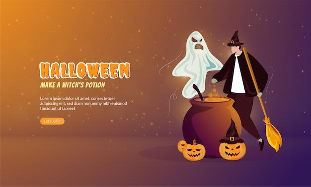 Illustrazione piana di fare la pozione di una strega per il concetto di festa di halloween