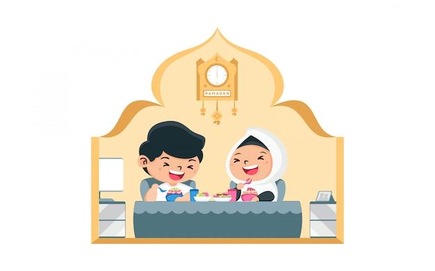 Illustrazione piana uomo e donna iftar ramadan