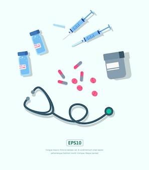 Dispositivi medici a illustrazione piatta, stetoscopi medici e vaccini in bottiglia