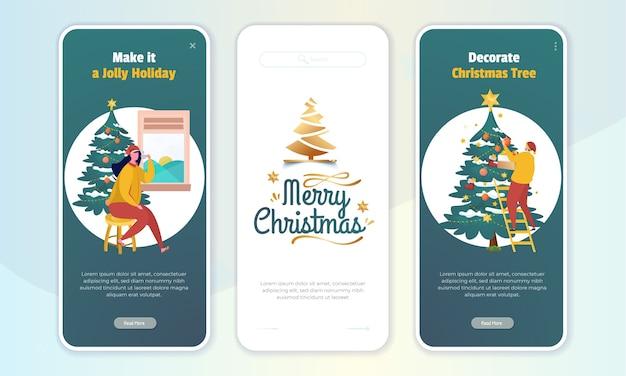 Illustrazione piatta di auguri di buon natale sullo schermo di bordo