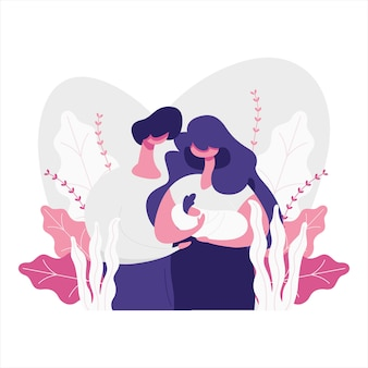 Illustrazione piana di una madre e di un padre con il loro bambino.