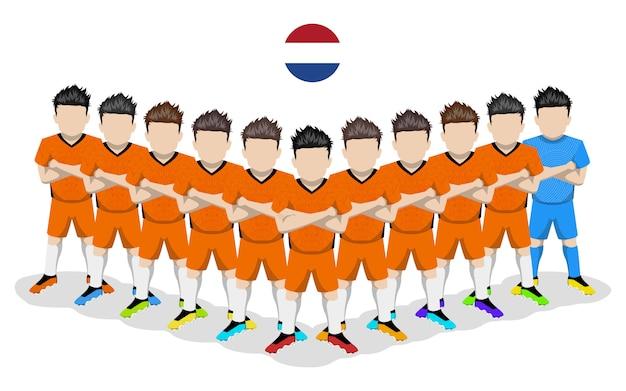 Illustrazione piana della squadra di calcio nazionale dei paesi bassi per la competizione europea