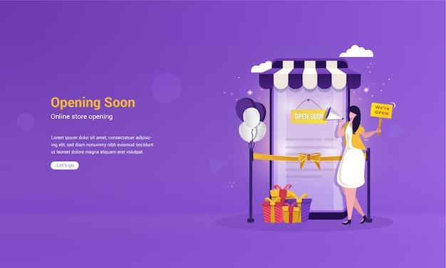 Illustrazione piana di prossima apertura per il concetto di negozio online