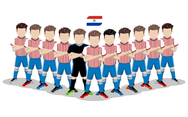 Illustrazione piana della squadra di football americano nazionale del paraguay per la concorrenza del sudamerica