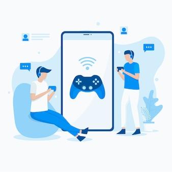 Illustrazione piatta di giocare ai videogiochi mobili