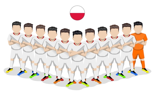 Illustrazione piana della squadra di calcio nazionale della polonia per la competizione europea