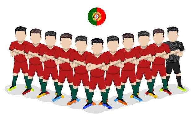 Illustrazione piana della squadra di calcio nazionale del portogallo per la competizione europea