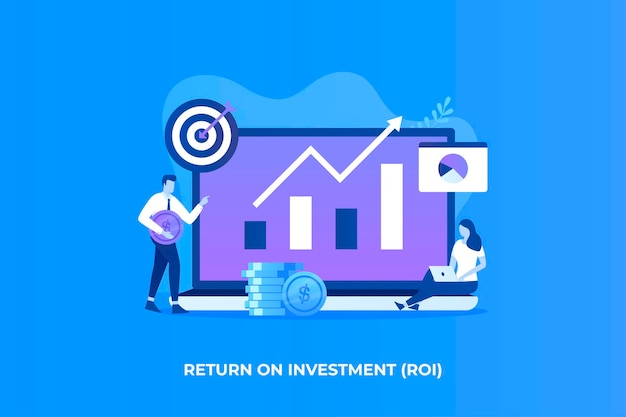 Illustrazione piana del concetto di ritorno sull'investimento per le pagine di destinazione dei siti web