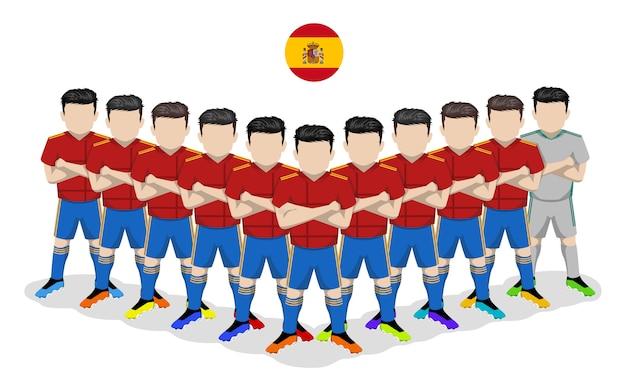 Illustrazione piana della squadra di calcio nazionale della spagna per la competizione europea