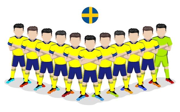 Illustrazione piana della squadra di calcio nazionale svedese per la competizione europea