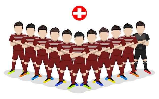 Illustrazione piatta della nazionale svizzera di calcio per la competizione europea
